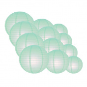 Quasimoon EVP-IC-CP12 12pcs Pack (12/3.2cm ) Paper Lanterns Even Ribbing, Arctic Spa Blue, 12 Piece Set