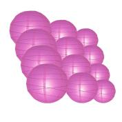 Quasimoon IRR-VI-CP12 12pcs Pack (12/3.2cm ) Paper Lanterns Crisscross Ribbing, Violet / Orchid, 12 Piece Set