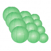 Quasimoon EVP-RE-CP12 12pcs Pack (12/3.2cm ) Paper Lanterns Even Ribbing, Cool Mint Green, 12 Piece Set