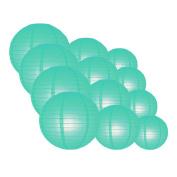 Quasimoon EVP-WB-CP12 12pcs Pack (12/3.2cm ) Paper Lanterns Even Ribbing, Water Blue, 12 Piece Set