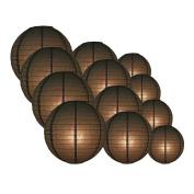 Quasimoon EVP-BK-CP12 12pcs Pack (12/3.2cm ) Paper Lanterns Even Ribbing, Black, 12 Piece Set