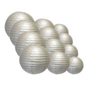 Quasimoon EVP-SV-CP12 12pcs Pack (12/3.2cm ) Paper Lanterns Even Ribbing, Silver, 12 Piece Set