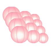 Quasimoon EVP-PK-CP12 12pcs Pack (12/3.2cm ) Paper Lanterns Even Ribbing, Pink, 12 Piece Set