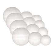 Quasimoon EVP-WH-CP12 12pcs Pack (12/3.2cm ) Paper Lanterns Even Ribbing, White, 12 Piece Set