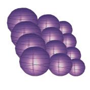 Quasimoon IRR-DPU-CP12 12pcs Pack (12/3.2cm ) Paper Lanterns Crisscross Ribbing, Royal Purple, 12 Piece Set