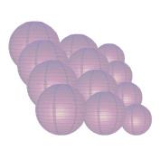 Quasimoon EVP-LV-CP12 12pcs Pack (12/3.2cm ) Paper Lanterns Even Ribbing, Lavender, 12 Piece Set