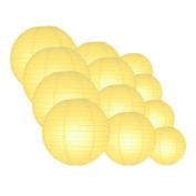 Quasimoon EVP-LY-CP12 12pcs Pack (12/3.2cm ) Paper Lanterns Even Ribbing, Lemon Yellow Chiffon, 12 Piece Set