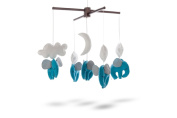 Marmelada Lights Handmade soft Felt Nursery-crib-cot Hanging Mobile Dreaming Elephants in the clouds, Bedtime room Decor