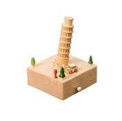 Wooden Music Box Christmas Birthday Gift for Kids Children Friends - Leaning Tower