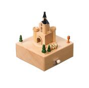 Wooden Music Box Christmas Birthday Gift for Kids Children Friends - Castle