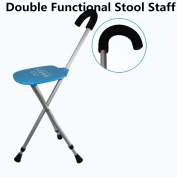 Old man folding four-legged fitness crutches with stool three-legged light non-slip Walker Stick Chair Telescopic stick