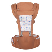 ANHPI Ergonomic Baby Carrier Head Support Comfort Backpack Wrap Detachable Hip Seat Breathable Mesh Backing Safe ,Brown