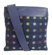 Mala Abertweed Collection British Leather Navy Spot Cross Body Bag Purse