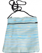 Full Funk Throwover Long Cord Thai Silk Hill Tribe Pouch , 18cm x 20cm , Powder Blue