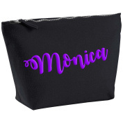 Monica Personalised Name Cotton Canvas Black Make Up Accessory Bag Wash Bag Size 14x20cm. The perfect personalised Gift for All occasion, Christmas, Birthdays,