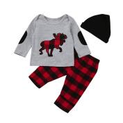 Exteren 3pcs Toddler Infant Baby Girls Boys Tops+Plaid Pants+Hat Clothes Set Outfits