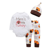 "TRENDINAO Newborn Infant Baby Boys Girls Clothes Thanksgiving ""Mimi's Little Turkey"" Romper+Pants+Hat+Headband Outfit Clothes Set"