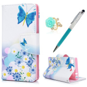 Sony Xperia XZ1 Compact Case MAXFE.CO Sony XZ1 Compact Case (12cm ) Shockproof PU Leather Flip Wallet Magnetic Stand Case Cover for Sony Xperia XZ1 Compact with Card Slots & One Touch Pen & One Dust Plug, Blue Butterfly