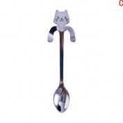 Dreammy Stainless Steel Spoons Cocktail Cute Cats Teaspoon Coffee Soup Handle Spoon Drinking Tools Silver