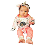3PCS Girl Boy Clothes Set friendG Floral Striped Hooded Tops + Pants + Headband Outfit Toddler Infant Baby Fashion Soft Casual Daily Birthday Bedtime Clothing