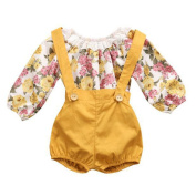 Nuohuilekeji Baby Girl Lace blossom Jersey Print Long Sleeve Romper Short Overalls Outfit Set size 3-6 Months