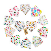 iZiv 12 PACK Baby Bandana Drool Bibs with Adjustable Snaps, Soft Lining 0-2 Years