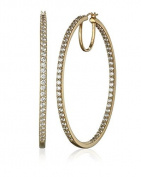 La Lumiere Yellow Gold Plated Sterling Silver Zirconia (7cttw) 5.08cm Round Hoop Earrings