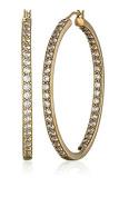La Lumiere Platinum Plated Sterling Silver Zirconia Round-Cut 3.81cm Hoop Earrings