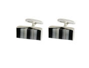 P.D.MAN Oblong Cufflinks with Two One Grey and Black Cats Eye Stones
