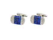 P.D.MAN Pillow Cufflinks with Blue and White Crystals