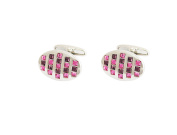 P.D.MAN Pink Three Row Crystal Cufflinks