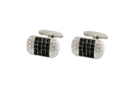 P.D.MAN Pillow Cufflinks with Black and White Crystals