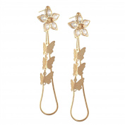 Zephyrr Fashion Lightweight Golden Floral Dangle Earrings With Zircons For Girls and Women