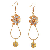 Zephyrr Fashion Lightweight Golden Hook Earrings With Zircons For Girls and Women