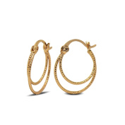Blue Diamond Club - 18ct Gold Filled Womens Small Thin Double Hoop Earrings 18K GF