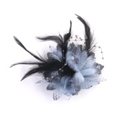 Phenovo Beaded Flower Feather Brooch Wrist Corsage Hair Clip Fascinator
