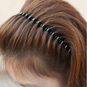 CareforYou® Unisex Black Elastic Wavy Spring Wave Metal Sports Hair Hoop Band Girl Men`s Head Band Accessory