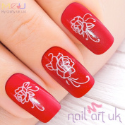 White Rose Water Decal Nail Art Stickers