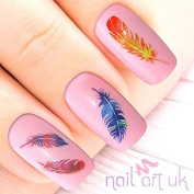 124 Feather Adhesive Nail Art Stickers Decals Decorations