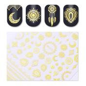 3D Nail Stickers Star Moon Image Adhesive Nail Art Decorations,Gold