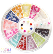 2mm Pearlised Finish Coloured Nail Art 3D Decorations - 12 colours