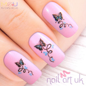 Blue Butterfly Water Decal Nail Art Tattoos Stickers