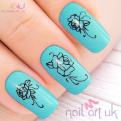 Black Rose Water Decal Nail Art Stickers