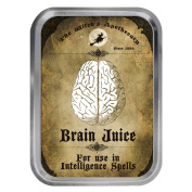 Apothecary Label Brain Juice Design 60ml Silver Tin Tobacco Storage