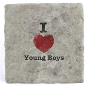 I Love Young Boys - Marble Tile Drink Coaster