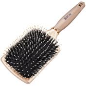 BIBTIM Natural Boar Bristles Paddle Hair Brush for Men Women & Kids, Detangling Cushion Brush for Straightening & Smoothing Hair, Adds Shine and Improves Hair Texture
