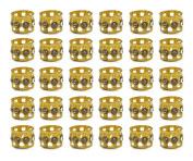 Hyamass 30pcs Rhinestone Aluminium Gold Dreadlocks Beads Metal Hair Ring Decoration Braiding Hair Jewellery