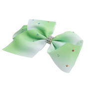 GUAngqi Boutique Girls Hair Bows Snap Alligator Clip Boutique Large Big Grosgrain Ribbon Rhinestones Rainbow Bow Hair Clip ,Grass green