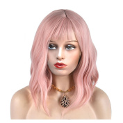 MeriCino Short Wigs for Women with Air Bangs 36cm Curly Synthetic Fashion Natural Lovely Hair Harajuku Costume Party Wig+ Free Wig Cap