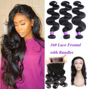 YoungFace 360 Lace Frontal with Bundles 8A Grade Brazilian Body Wave with 360 Frontal Unprocessed Virgin Human Hair with 360 Frontal Closure